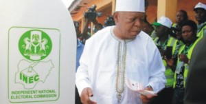 Prince Abubakar Audu while casting his vote in last Saturday's election