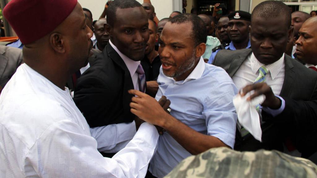 Nnamdi kanu during his arraignment in Abuja