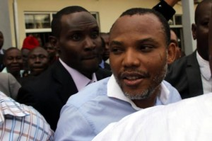 Nnamdi Kanu during his arraignment in court in Abuja