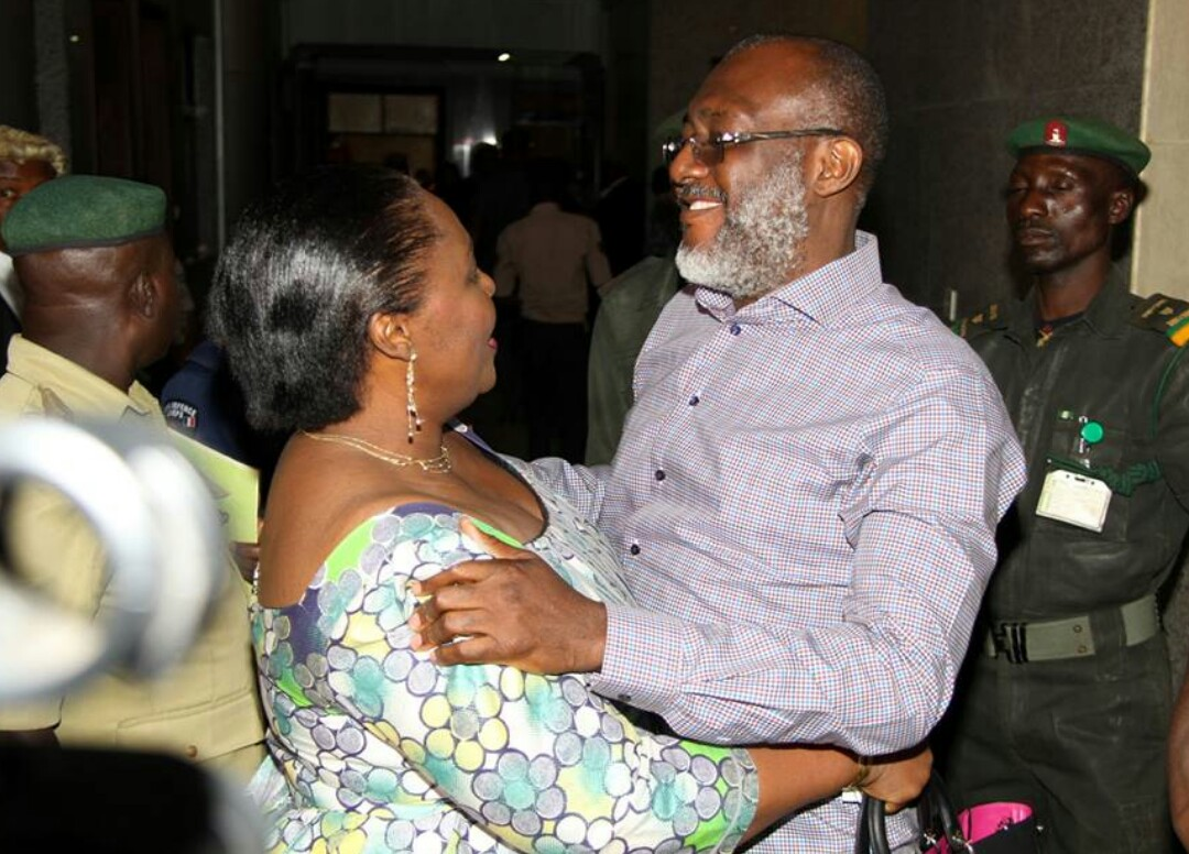 Metuh and wife shortly after regaining his freedom