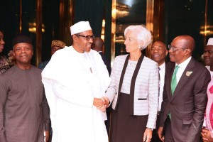President Buhari receiving IMF boss Largarde  at the State House, Abuja