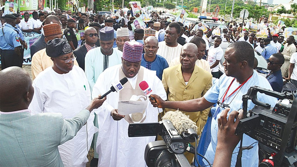 Sheriff addressing the press at the PDP headquarters. Credit: The Guardian